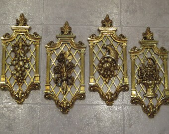 Set Of 4 Vintage Hollywood Regency Gold Wall Plaques, Dart Ind, Four Seasons Wall Hangings