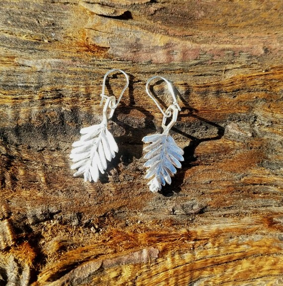 Redwood Leaf and Hexagon Cast Sterling Silver Earrings