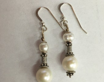 white pearl and .925 silver earrings