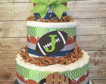 Sports Theme Diaper Cake, Sports Baby Shower Centerpiece, Sports Deocrations