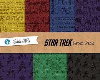Star Trek Paper Pack : 42 Printable Digital Scrapbook Paper with Paper Texture