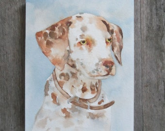 Spotted Speckled Hound Watercolor Portrait on Board