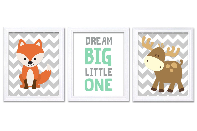 Grey Mint Green Woodland Nursery Art Animal Print Set of 3 Dream Big Little One Fox Moose Forest Wal