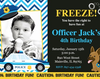 Police Birthday Party Invitation -  Printable or Printed