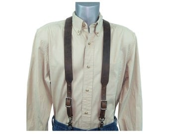 Distressed Dark Brown Leather Suspenders made from Genuine Water Buffalo