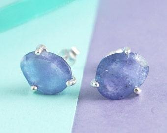 December Birthstone Earrings, Tanzanite Studs, Rough Stone Earrings, Silver Gemstone Earrings, Gemstone Studs, Uncut Gemstone, Blue Gemstone