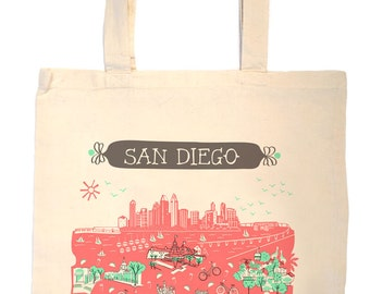 San Diego Tote Bag-City Tote-California Tote-Any City Tote-Coral-Mint Green-Gray-Personalized-Custom