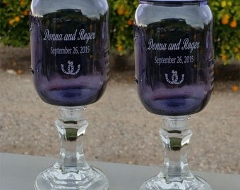 Redneck  Wine Glass, Purple,  Horseshoe, Engraved,  Personalized, 2 - 16 OZ -  Hillbilly Wine Glasses - Wedding -Anniversary - Mason Jar