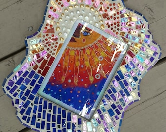 SOLD Mexican art by non-profit set in a custom mosaic frame made of stained glass, agate and pearls
