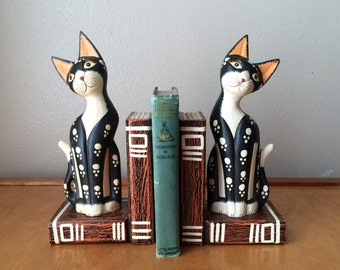 Black Kitty Cat Bookends from Indonesia - Wood