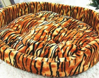 Tiger Print Dog Bed, Removable Cushion!