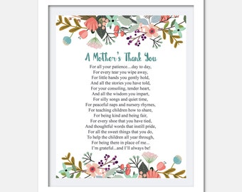 Teacher appreciation print - Printable Teacher Gift - Childcare teachers gift - Digital download - Teacher gift - A mothers thank you poem