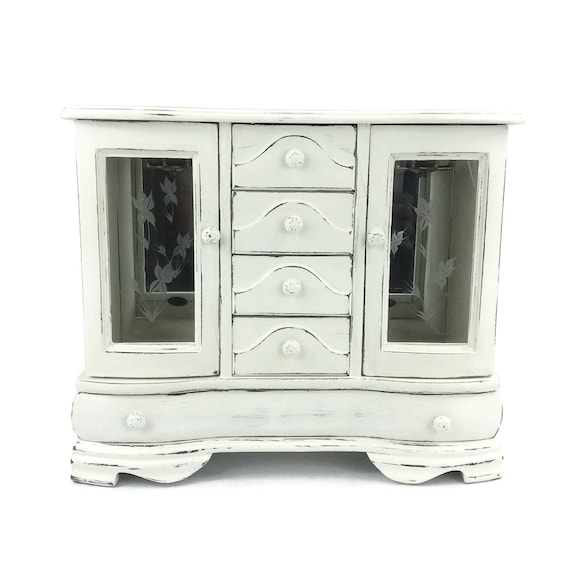 Large Jewelry Box White Jewelry Armoire Cottage Chic Jewelry