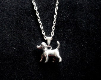 Silver dog necklace, Cute dog necklace, Animal necklace, Pet dog necklace, Puppy necklace, Quirky necklace