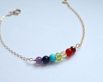 Gold chakra bracelet, 14k gold fill Chakra bracelet, Chakra bracelet,  Meditation jewelry, Gifts