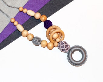 Teething Breastfeeding Nursing Necklace with Ring for New Moms in Gray,Smoky,Dark Violet by EcoBabyMarket