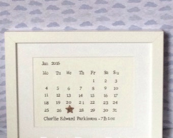 Handstamped Personalised Birth Date Print A5 - no frame