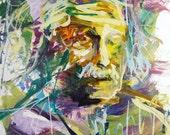 Original Albert Einstein Portrait, Mixed Media Painting, Abstract Artwork