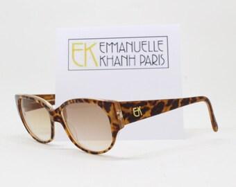 Emmanuelle Khanh Paris vintage 80s sunglasses, designer eyewear, tortoise frame, made in France.