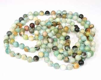 "Long Necklace, Natural Stone, 8mm Hand Knotted Amazonite, 8mm Round Beads. 60"". Polished Beads.  Necklace, Natural Stones, Wholesale"