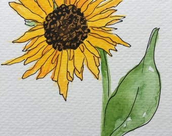 Sunflower watercolor set