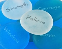 Imprinted Frosted Glass Word Stones - Words, Animals, Christian Phrases