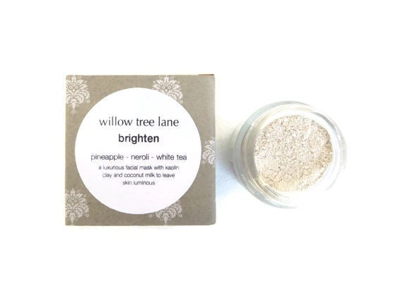 Brighten Face Mask with Pineapple, Coconut, White Tea and Neroli. Cleansing Grains, Clay Mask