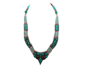 Tibetan necklace Turquoise Necklace Nepalese Necklace Nepal necklace Tibetan Necklace Tribal Necklace Tibet necklace boho necklace N1