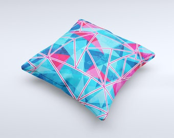 The Vivid Blue and Pink Sharp Shapes ink-Fuzed Decorative Throw Pillow