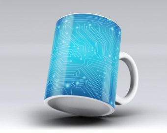 Blue Circuit Board V2 -ink Fuzed Ceramic Coffee Mug or Tea Cup