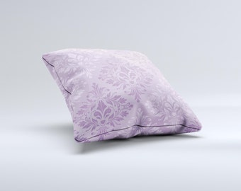 The Light and Dark Purple Floral Delicate Design ink-Fuzed Decorative Throw Pillow