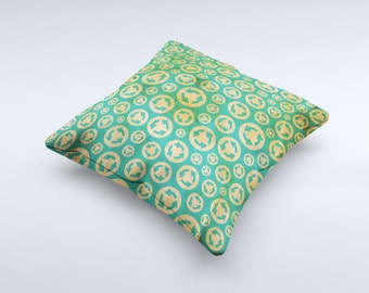 The  Yellow and Green Recycle Pattern ink-Fuzed Decorative Throw Pillow