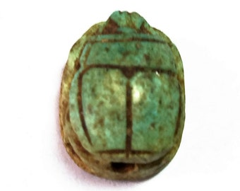 Vintage Ancient Egyptian Faience Scarab Amulet, From Valley of the Kings,  Luxor, Egypt, 16 mm.