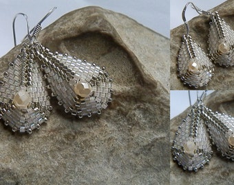 Woven ivory and Silver earrings BO705A