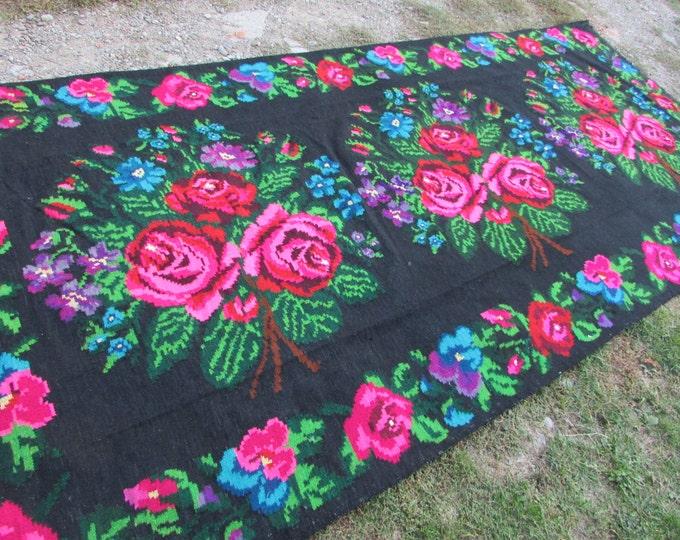 Bessarabian Kilim. Vintage Moldovan Kilim, Handmade 50-60 years old, handmade, Floral Rugs Carpets, Ukrainian, Bessarabian carpet. KOM.N