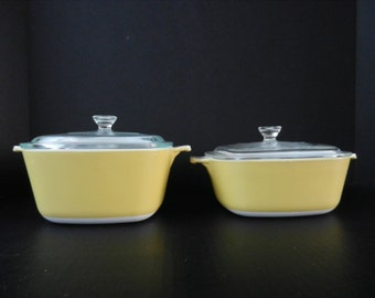 1970 Corning Ware Harvest Casserole Dish Set, Gold, Yellow Casserole Dishes, Ovenware, Kitchen Display or Use