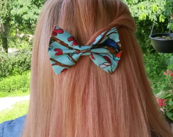 Bird Hair Bow • Floral Hair Bow • Turquoise and Red • Sparrow Hair Bow • Women's Fashion • Gifts For Women •  Christmas Gifts
