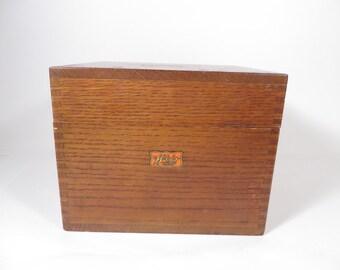 Mid Century Wood Card Catalog Box - Weis Wood File Card Box