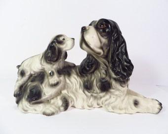 Vintage Springer Spaniels Porcelain Figurine - Dog and Puppy Spaniel Porcelain Figurine