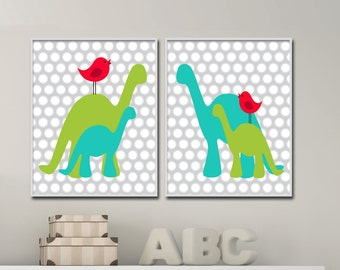 Dinosaur Nursery Wall Art Print, Aqua and Green Dinosaur Baby Art Print and Nursery Wall Art Prints Baby Boys Room Decor N509,510