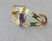 Geometry Brass Cuff, Bracelet with Amethyst Natural Stone, Bohemian Bracelet, Gift for Her
