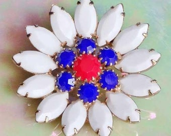 Cheery and PATRIOTIC Red, White, & Blue FLOWER PIN