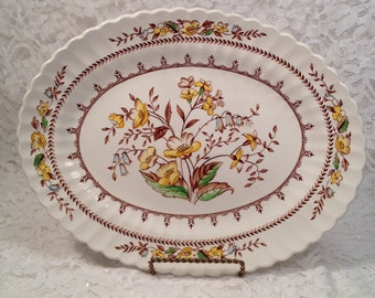 Vintage J & G Meakin 12 Inch Braemar Hand Engraved English Staffordshire Platter with 1960's Yellow and Brown Floral Design.