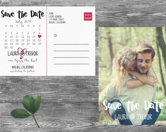Calendar Save The Date Postcard, Postcard Save the Date, Photograph Save the Date, Custom Personalized, Engagement Announcement Card- Malibu