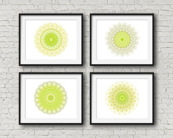 Lime green set of 4 prints indie room decor geometric mandala poster set four olive home decor bold wall art set decorative art color block