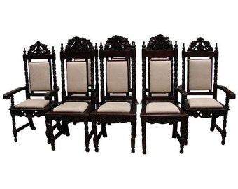 Antique Gothic Renaissance Dining Chairs - 8