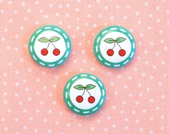 "3 wooden buttons ""Cherries"""