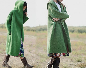 437-Women's Heavy Weight Bouclé Hooded Coat, Green Long Wool  Coat, Orange Supersized Coat, Oversized Coat,  Wool Trench Coat.