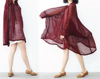 199---Linen Dress Oversized Red Loose Tunic Dress