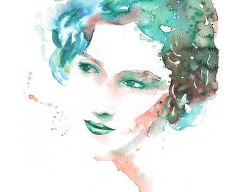 Woman watercolor print, wall art, fine art giclee print